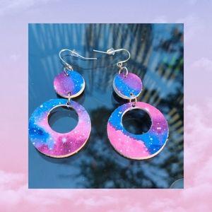 3/$20 Galaxy pattern faux leather earrings